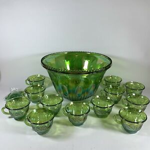 Indiana Iridescent Lime Green Carnival Glass Princess Punch Bowl & 12 Cups