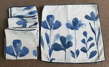 "4 x Matalan Linen Blend Ivory & Blue Watercolour Iris Cushion Covers 18"" x 18"""