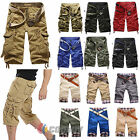 Mens Military Combat Camo Cargo Shorts Pants Work Pleated Short Trousers Army