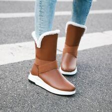Women Mid-calf Booties Warm Winter Boots Fur Lined Casual Comfort Low Heel Shoes