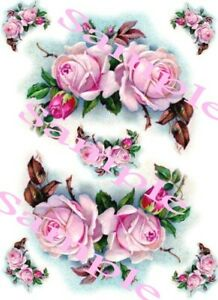 Shabby Roses Pink Swag  Waterslide Decals