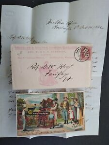 Vt: Burlington 1862 Wheeler & Wilson Sewing Machine Advertising Cover + Content