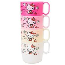 Hello Kitty Stacking 4 Mugs (Polypropylene) 4 colors Kawaii Cute Brand NEW F/S