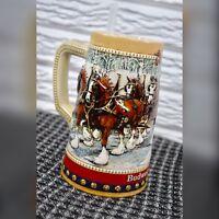 Vintage 1988 Anheuser-Busch Budweiser Holiday Stein Mug Christmas Clydesdales