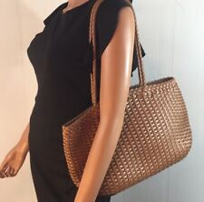 FALOR ITALY Tan Brown Hand Woven Le