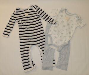 Burt's Bees Baby PJ Set Blue White Stars Striped Body Suit Pants One Piece 6-9 M