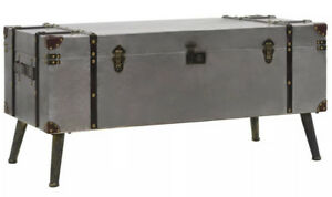 Industrial Style Coffee Table Storage Box Trunk Chest Vintage Retro Furniture