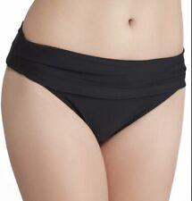 NWT LAUREN RALPH LAUREN Fold Over Bikini Hipster Bottom Bottoms Black Sz 14 $60