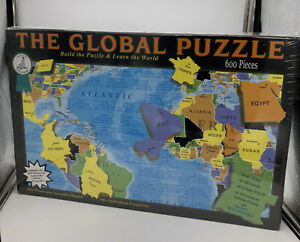 NEW SEALED THE GLOBAL PUZZLE 600 Piece Jigsaw Puzzle WORLD MAP GEOGRAPHY SCHOOL