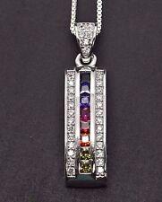 Sterling Silver Deco MultiColor Rainbow Drop Princess Sapphire Pendant Necklace