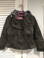 NWT URBAN REPUBLIC GIRLS SIZE 8 OLIVE FAUX LEATHER JACKET COAT HOODIE WITH HOOD