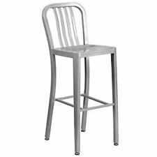 Flash Furniture 30'' High Silver Metal Indoor-Outdoor Barstool with Vertical ...