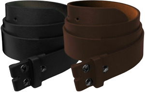 """Mens Heavy Duty No Buckle Snap-on Smooth Grain Leather Casual Belt Strap 1.5"""""""