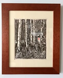Original Relief Print Birch Trees Nature Cabin Erin Nolan Door County Wisconsin