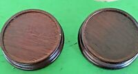 "Lot of 2 Solid Wood Round Display Base For Figurines 4"" Diameter"