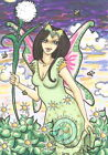 Bees Up Early Cartoon Fairy dawn L/E Hand Embellished Fantasy ACEO art PRINT ejw