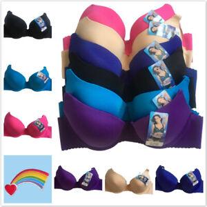 3 or 6 Women Ladies Plain Solid Color Demi Gentle PUSH UP Bra