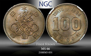 1964 JAPAN SILVER 100 YEN TOKYO OLIMPICS NGC MS66 FINEST KNOWN TONED COIN!
