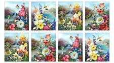 "BEAUTIFUL HUMMINGBIRD FABRIC BUTTERFLIES FLOWERS HUMMINGBIRDS CREAM  23"" PANEL"
