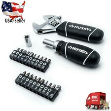 Husky Stubby Wrench and Socket Set (46-Piece) Adjustable Wrench Fully Polished