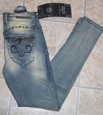NWT Rerock jeans legging 0 flap pocket studs blue stretch distressed embellished