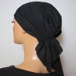 BASIC JERSEYTUCH KOPFTUCH CAP  schwarz extrem bequem CHEMO PERÜCKE