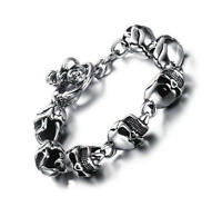 Fashion Men Stainless Steel Skull Bracelet Retro Punk Rock Chain Bangle 8 Inches