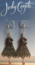 Jody Coyote Earrings JC0756 Made USA 9551 gold-filled ear wire gold red flower
