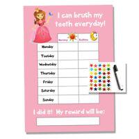 Princess Tooth Teeth Brushing Reward Chart - Kids Childrens Sticker Star