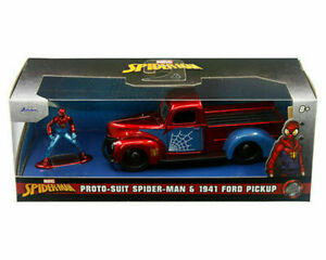 JADA 1:32 SCALE 1941 FORD TRUCK w/PROTO SUIT SPIDER MAN FIGURE MODEL 33075