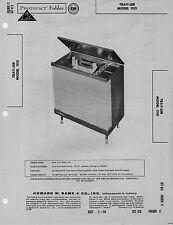 1960 TRAV-LER 1110 RECORD PLAYER CHANGER AMPLIFIER SERVICE MANUAL PHOTOFACT FIX