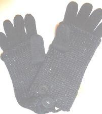 Ladies Women's Fownes Fingerless  Sparkle Gloves, Black, O/S