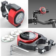 2In1 Rot Motorrad-Lenker Leuchtende Uhrzeit+Thermometer Anzeige Wasserdicht DE