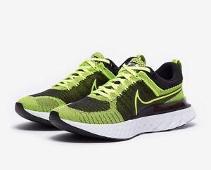 Nike INFINITY REACT RUN FLYKNIT 2 UK 8 EU 42.5 Volt Black Running CT2357 700