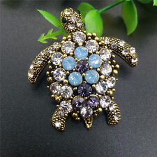 Vintage Women Beauty Crystal Fill Turtle Animal Suit Shirt Collar Brooch Pin Ht