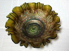 "Rare Fenton Carnival Glass 2 in 1 Green Captive Rose 8"" Bowl"