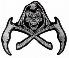"(L31) Large REAPER SKULL SCTHYE 11"" x 9.5"" iron on back patch (5680) Biker Vest"