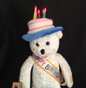 "Chantilly Lane Happy Birthday Musicals Bear Light Up Hat Animated 19"" Plush"