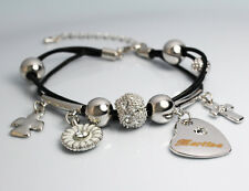 Genuine Braided Leather Charm Bracelet With Name - MARTINA - Gifts for her
