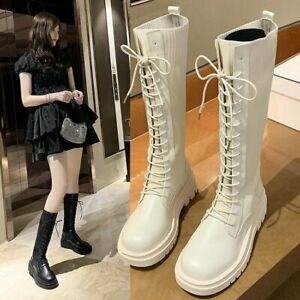 Womens Lace Up Strappy Combat Boots Platform Round Toe Knee High Riding Boots