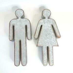 "Man Woman Male Female Gender Galvanized Metal Rustic Symbol Bathroom Sign 3D 14"""