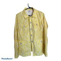 CAbi Field Jacket in Daisy Spring Yellow Floral Style 5160 Size Medium EUC $150