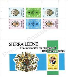 1981 Royal Wedding Charles & Diana MNH Sierra Leone BOOKLET PANES