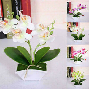 Artificial Butterfly Orchid Fake Flower Plants in Pot Bonsai Home Wedding Decor