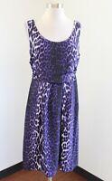 NWT T Tahari Womens Juniper Dress Purple Black Leopard Print Pleated Size 10