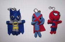 DC Comics Batman Marvel Spiderman Caped guy voodoo doll yarn string keychain lot
