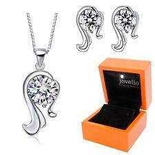 Schmuckset aus 925 Silber Sternzeichen Jungfrau Halskette Ohrstecker + LED Box