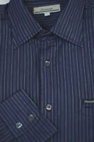 Faconnable Men's Navy Blue Pearl Stripe Luxury Cotton Casual Shirt L Large