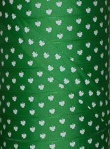 "5 yds 7.8"" GREEN ST PADDY'S SHAMROCK CLOVER GROSGRAIN RIBBON SAINT PATRICK'S DAY"