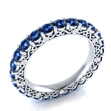 Elegant Women Round Cut Blue Sapphire 925 Silver Wedding Party Ring Size 10